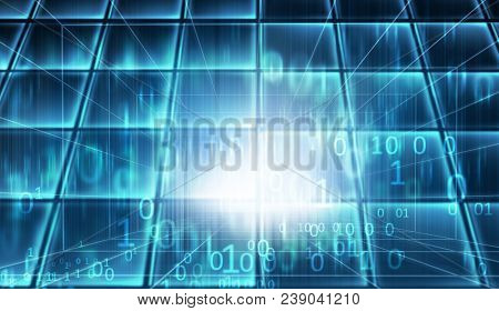 Blue Theme Cyberspace Data Room, Futuristic High Tech Enclosed Studio Backdrop