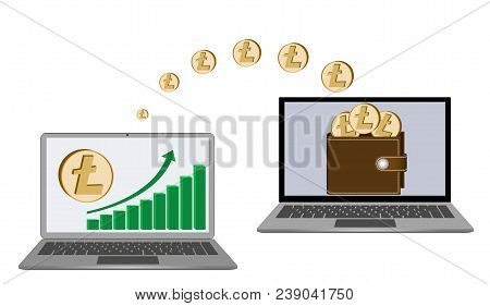 Transfer Litecoin Coins From Laptop In The Wallet In Another Laptop On A White Background,growth Dia