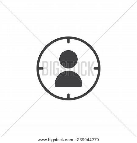 Target Audience Vector Icon. Filled Flat Sign For Mobile Concept And Web Design. User Target Aim Sim