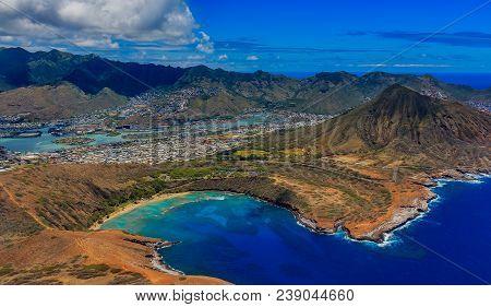Aerial View Of Koko Head, Maunalua Bay Lagoon And Honolulu Coastline  In Hawaii From A Helicopter