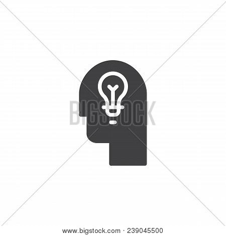 Lamp In Head Vector Icon. Filled Flat Sign For Mobile Concept And Web Design. Head With Idea Light B