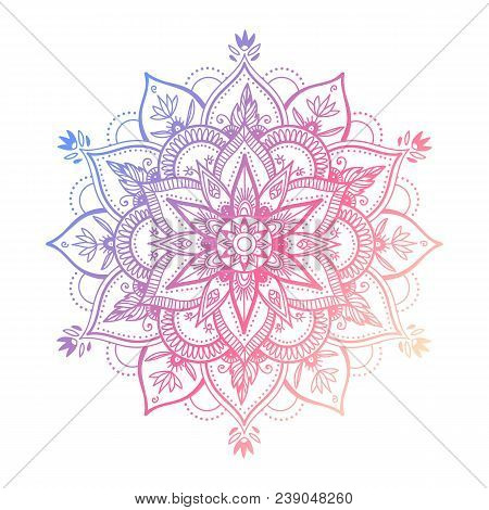 Round Mandala In Dreamy Gradient. Vector Hipster Design On White Isolated Background. Mandala With F