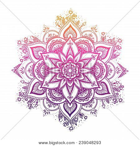 Round Gradient Mandala On White Isolated Background. Vector Boho Mandala In Green And Pink Colors. M