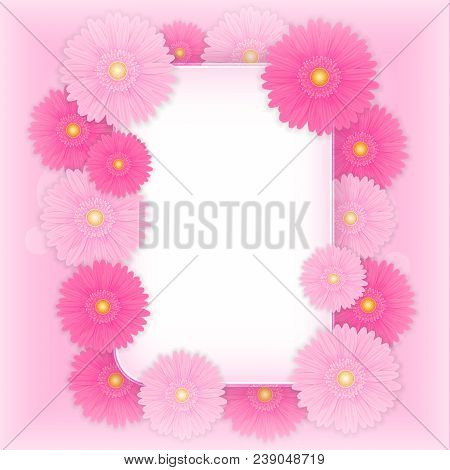 Template For Your Text. A Mock-up For Greeting Cards, Greetings, A Frame Of Flowers. Image Of A Gerb