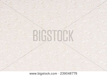 Beige Self Made Paper Pressed Flowers Sheet Texture Background. Embossed Lace Pattern.