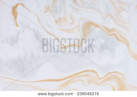 White Paper Sheet Texture Background. Flowing Colors. Golden And Silver Fluid Color Pattern.