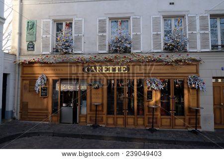 PARIS, FRANCE - JANUARY 08: La Maison Carette de Montmartre in Paris, France on January 08, 2018.
