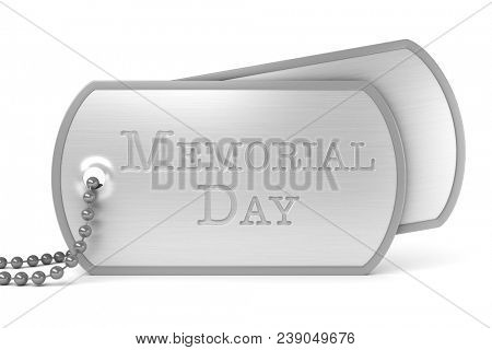 Dog tags stamped with Memorial Day - 3d render