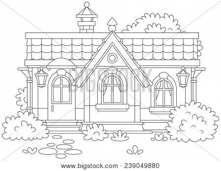 Country House With Bushes, Black And White Vector Illustration In A Cartoon Style For A Coloring Boo