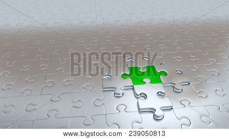 3d Illustration Of Four Silver Puzzle Pieces Hold One Green Piece Above Grey Pieces