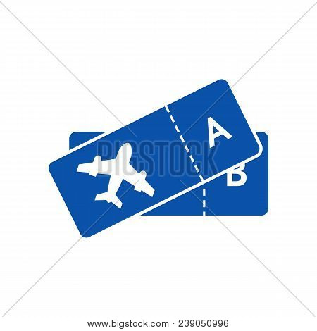 Blue Icon Of Tickets On Plane For Airline. Concept Of Tkt For Lowcost Transportation Or Traveling Em