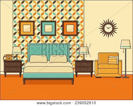 Bedroom Interior. Hotel Room With Bed. Vector. Home Retro Space In Flat Design. Cartoon House Equipm