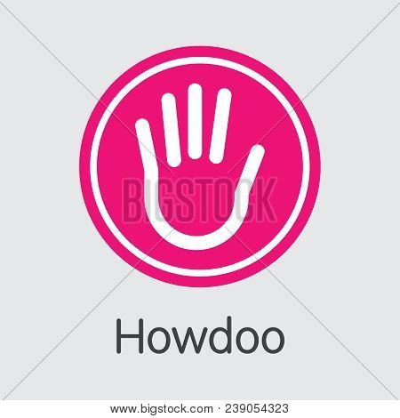Howdoo Finance. Digital Currency - Vector Coin Illustration. Modern Computer Network Technology Coin