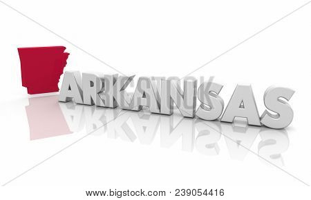 Arkansas AR Red State Map Word 3d Illustration