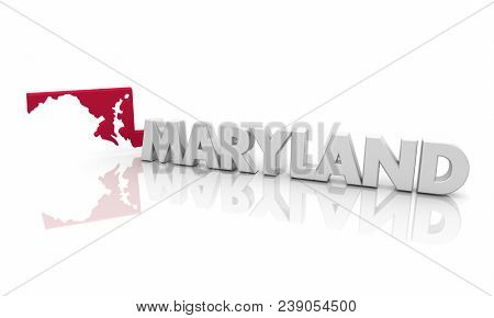 Maryland MD Red State Map Word 3d Illustration