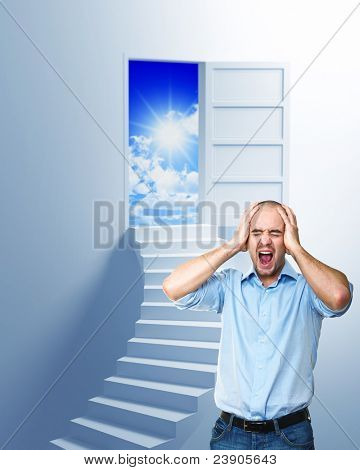 stressed man and stair to solution