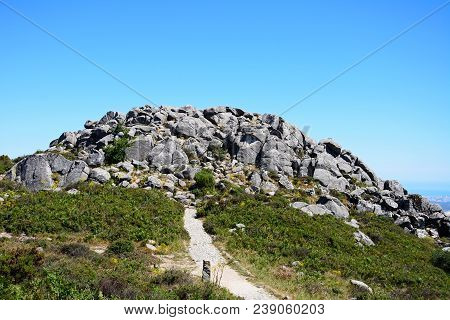 Mountain Path Leading To Large Rocks In The Monchique Mountains, Foia, Algarve, Portugal, Europe.