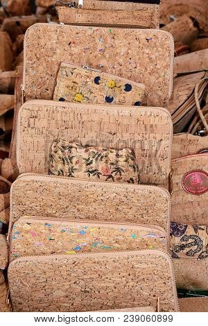 Portuguese Cork Purses On A Market Stall, Lagos, Algarve, Portugal, Europe.