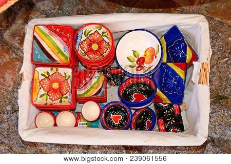 Silves, Portugal - June 10, 2017 - Colourful China Dishes For Sale, Silves, Portugal, Europe, June 1