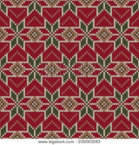 Christmas Holiday Seamless Knitted Pattern. Scheme For Sweater Pattern Design And Cross Stitch Embro