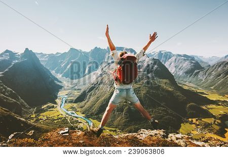 Happy Man Traveler Jumping With Backpack Travel Lifestyle Adventure Concept Active Summer Vacations