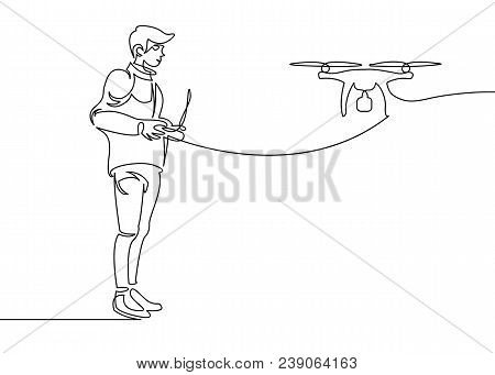 Continuous One Drawn Line Of The Silhouette Of The Pilot Launching The Drone Into The Sky. Modern Te
