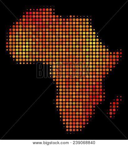 Pixel Orange Africa Map. Vector Territorial Plan In Bright Orange Color Tones On A Black Background.