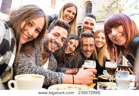 Friends Taking Selfie At Bar Restaurant Drinking Cappuccino And Irish Coffee - People Having Fun Tog