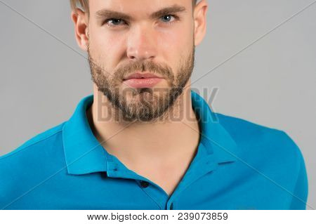 Guy With Beard And Mustache. Bearded Man With Healthy Young Skin. Macho With Unshaven Face. Beard Gr