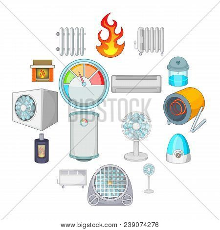 Heating Cooling Icons Set. Cartoon Illustration Of 16 Heating Cooling Vector Icons For Web