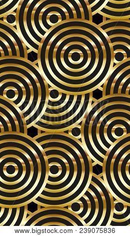 Seamless Geometric Golden Art Deco Pattern. Vector Fashion Backdrop In Vintage Style