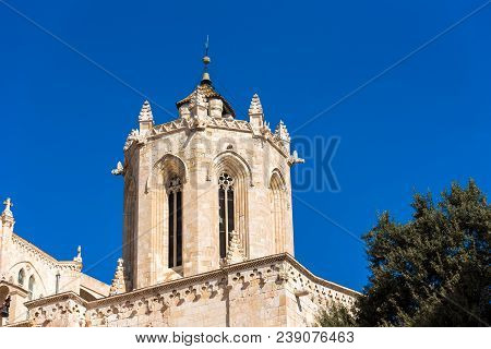 Tarragona Cathedral (Catholic cathedral) on a sunny day, Catalunya, Spain. Copy space for text poster