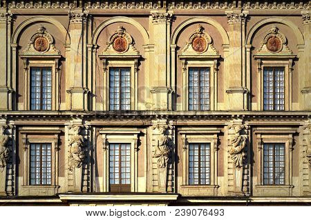Details Of Baroque Style Building Of The Royal Palace Of Stockholm, A Combination Of Royal Residence