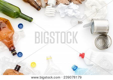 Recyclable Waste, Resources. Clean Glass, Paper, Plastic And Metal On White Background. Copyspace Fo