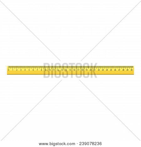 30 Cm Wood Ruler Icon. Realistic Illustration Of 30 Cm Wood Ruler Vector Icon For Web Design Isolate