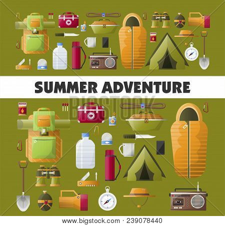 Camping Adventure Poster For Summer Camp Club Or Scout Expedition. Vector Camping And Hiking Tools I