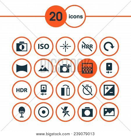 Picture Icons Set With Hdr, Smartphone, Adjust And Other No Timer Elements. Isolated Vector Illustra