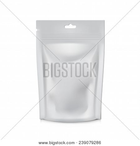 Blank Foil Food Or Drink Bag Packaging. Plastic Pouch Coffee Or Tea Bag. Eps10 Vector