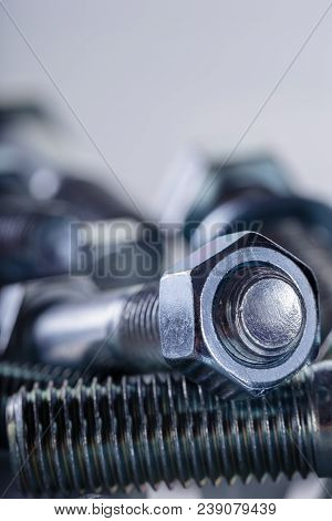 Screws, Nut And Bolts On White Background.