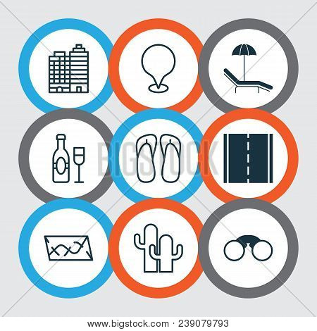 Tourism Icons Set With Thongs, Camera, Location Marker And Other Slipper Elements. Isolated  Illustr