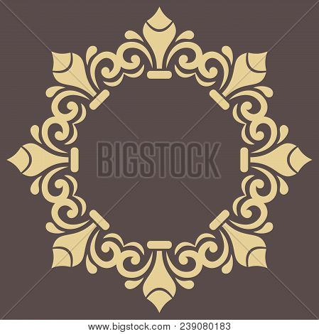 Oriental Golden Round Pattern With Arabesques And Floral Elements. Traditional Classic Ornament. Vin