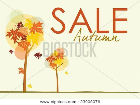 A landscape format sale poster with an autumnal theme. Stylized trees and autumn leaves on a pale background with text spelling autumn sale. poster