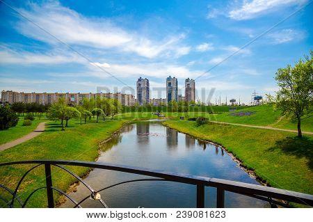 Minsk, Belarus, Modern Architecture And City Park Along Gorodetska Street, Architectural Complex