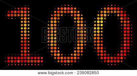 Dotted 100 Text Icon. Bright Pictogram In Fire Orange Color Tones On A Black Background. Vector Half