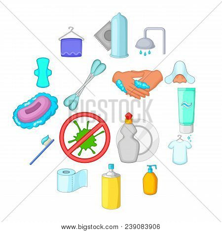 Hygiene Icons Set. Cartoon Illustration Of 16 Hygiene Items Vector Icons For Web