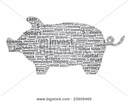 Piggy Bank illustration with words on white background. poster