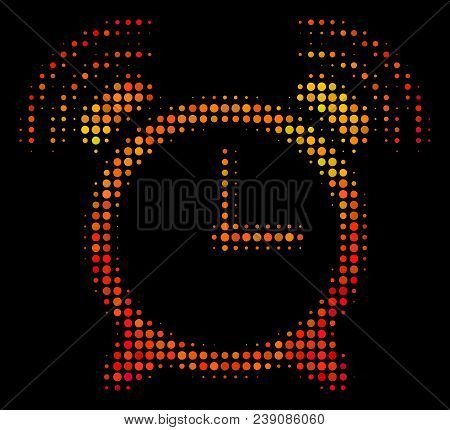Dotted Buzzer Icon. Bright Pictogram In Hot Color Tints On A Black Background. Vector Halftone Mosai