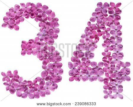 Arabic Numeral 34, Thirty Four, From Flowers Of Lilac, Isolated On White Background