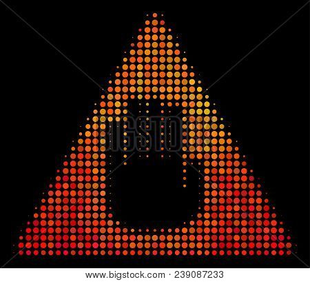 Dotted Caution Icon. Bright Pictogram In Hot Color Tints On A Black Background. Vector Halftone Patt