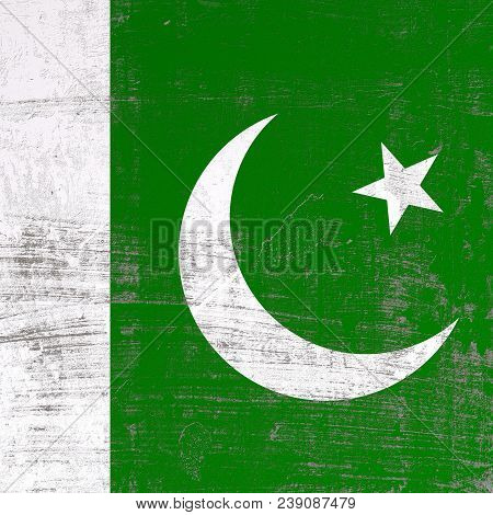 3d Rendering Of Pakistan Flag In A Scratched Surface